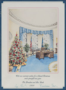 George and Barbara Bush Signed Christmas Print