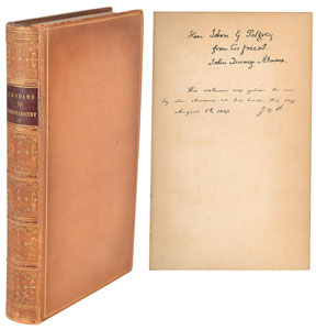 John Quincy Adams Signed Book: 'Letters on the Masonic Institution'