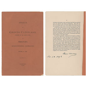Grover Cleveland Signed Booklet: 'Princeton Sesquicentennial Celebration Speech'