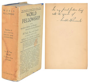 Franklin D. Roosevelt Signed Book: 'World Fellowship'