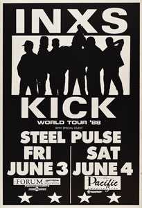 INXS 1988 Kick World Tour Poster