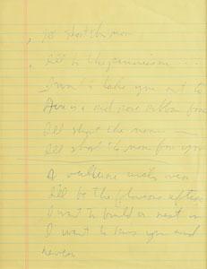Tom Waits Handwritten Lyrics