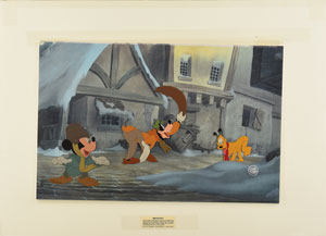 Mickey, Goofy, and Pluto production cels from The Prince and the Pauper