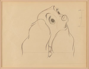 Lady production drawing from Lady and the Tramp