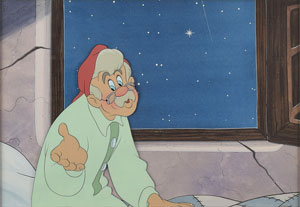 Geppetto production cel from Pinocchio