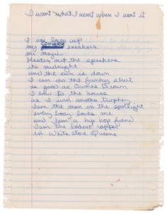 Dee Dee Ramone's Handwritten Lyrics for 'I Want What I Want When I Want It'