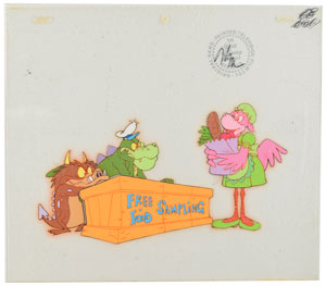 Crocosaurus, Brat, and Ms. Flamincow production cels from The Wuzzles