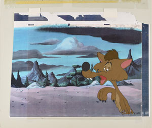 Bent-Tail coyote production cel from a Pluto short