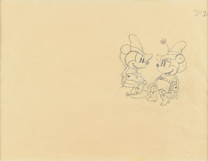 Mickey and Minnie Mouse production drawing from Two-Gun Mickey