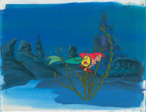 Ariel, Flounder, and Sebastian production cel and production background from The Little Mermaid TV Show