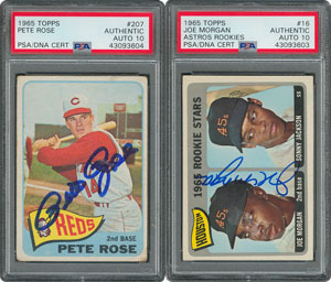 1965 Topps Baseball Autographed Pair with Pete Rose and Joe Morgan Rookie Card - both PSA/DNA GEM MINT 10