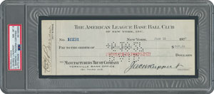 Lou Gehrig Signed 1927 NY Yankees Payroll Check - PSA/DNA NM-MT 8