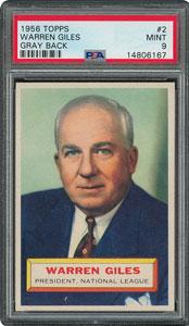 1956 Topps #2 Warren Giles - PSA MINT 9 - one Higher!