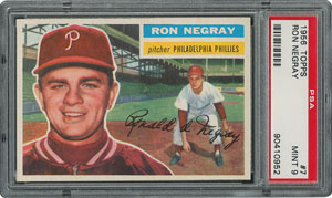1956 Topps #7 Ron Negray - PSA MINT 9 - two Higher!