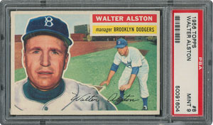 1956 Topps #8 Walter Alston - PSA MINT 9 - two Higher!