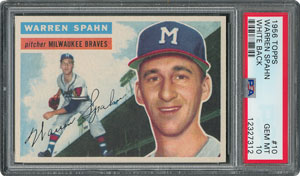 1956 Topps #10 Warren Spahn - PSA GEM-MT 10 - Pop two, None Higher!