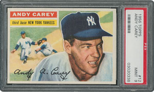 1956 Topps #12 Andy Carey - PSA MINT 9 - two Higher!