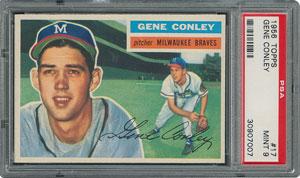 1956 Topps #17 Gene Conley - PSA MINT 9 - two Higher!