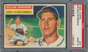 1956 Topps #27 Nelson Burbrink - PSA MINT 9 - two Higher!
