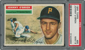 1956 Topps #65 Johnny O'Brien - PSA MINT 9 - two Higher!