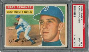1956 Topps #83 Karl Spooner - PSA MINT 9 - one Higher!