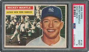 1956 Topps #135 Mickey Mantle - PSA MINT 9