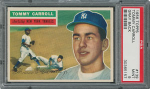 1956 Topps #139 Tommy Carroll - PSA MINT 9 - None Higher!