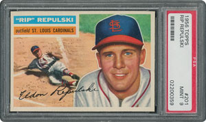 1956 Topps #201 Rip Repulski - PSA MINT 9 - two Higher!