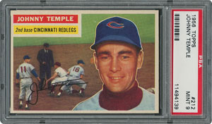 1956 Topps #212 Johnny Temple - PSA MINT 9 - two Higher!