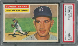 1956 Topps #215 Tommy Byrne - PSA MINT 9 - one Higher!