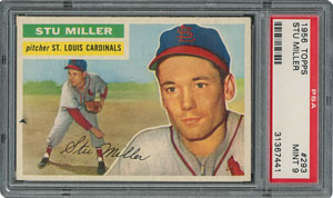 1956 Topps #293 Stu Miller - PSA MINT 9 - None Higher!