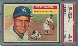 1956 Topps #316 Jerry Coleman - PSA MINT 9 - None Higher!
