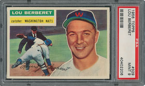 1956 Topps #329 Lou Berberet - PSA MINT 9 - two Higher!
