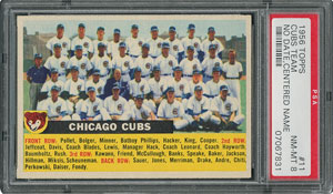 1956 Topps #11 Cubs Team (Name Centered) - PSA NM-MT 8 - Ten Higher!