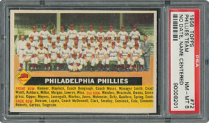1956 Topps #72 Phillies Team (Name Centered) - PSA NM-MT 8 - Eleven Higher!
