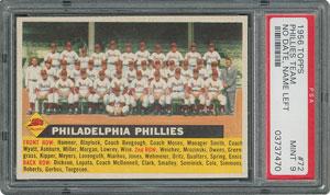 1956 Topps #72 Phillies Team (Name Left) - PSA MINT 9 - Pop Three, None Higher!