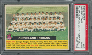 1956 Topps #85 Indians Team (Name Centered) - PSA MINT 9 - None Higher!