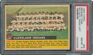 1956 Topps #85 Indians Team (Name Left) - PSA NM-MT 8 - Eight Higher!