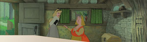 Briar Rose and Flora production cels and production background from Sleeping Beauty