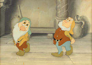 Bashful and Happy production cels and production background from Snow White and the Seven Dwarfs