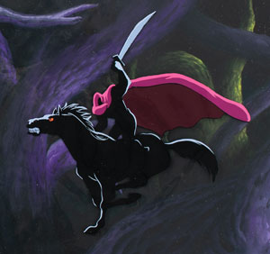 Headless Horseman production cel and production background from The Adventures of Ichabod and Mr. Toad