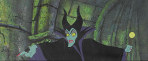 Maleficent production cel and production background from Sleeping Beauty