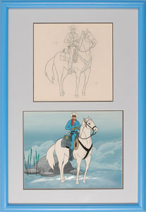 Lone Ranger and Silver production cel and drawing from The Lone Ranger