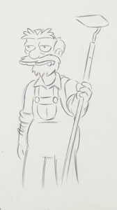 Groundskeeper Willie production drawing from The Simpsons