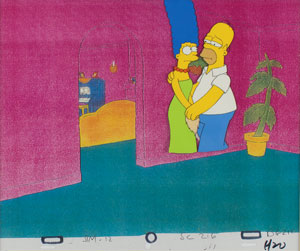 Homer and Marge Simpson production cel from The Simpsons
