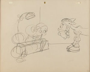Betty Boop and Harry Horse production drawing from an early cartoon
