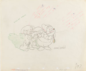 Dopey, Grumpy, and Doc production drawing from Snow White and the Seven Dwarfs signed by Marc Davis