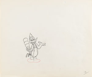 Woody Woodpecker production drawing from Dizzy Acrobats