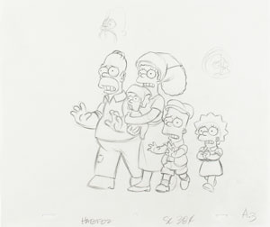 Homer, Marge, Maggie, Lisa, and Bart production drawing from Simpsons