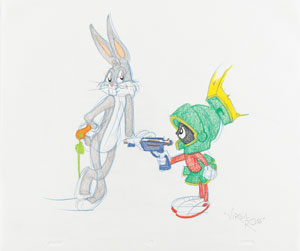 Bugs Bunny and Marvin Martian original drawing by Virgil Ross